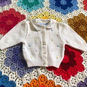VTG 70s Baby Flower Knit Cardigan